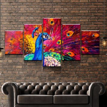 Abstract Peacock Canvas Set