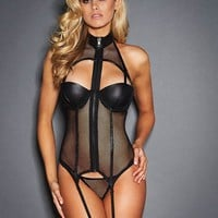 Sexy Women Black Leather Body stock Lingerie