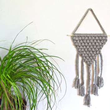 Geometric Crochet Wall Hanging Gray Wall Hanging Crochet Wall Decor Gray Decor Triangle Wall Hanging Braided Wall Hanging Boho Chic Decor