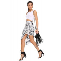 White Ink Print Asymmetrical Knot Fold Skirt