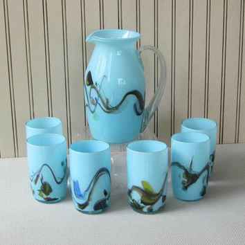 Opaque Blown Glass Pitcher and Glasses Set of 7 Light Blue with Swirls of Color Antique