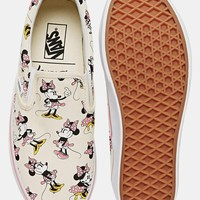 Vans Classic Cream Minnie Mouse Slip On Trainers