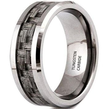CERTIFIED 8mm Tungsten Carbide Ring Grey Carbon Fiber Inlay Vintage Men's Women's Wedding Engagement Promise Band for Her and His Comfort Fit
