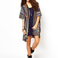Band Of Gypsies Long Kimono Jacket In Mexican Aztec Print at asos.com