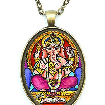 Ganesh God Wisdom Huge 30x40mm Talisman Antique Gold Bronze Pendant with Chain Necklace