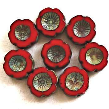 Five 14mm table cut, carved, opaque red picasso Czech glass Hawaiian flower beads C0805