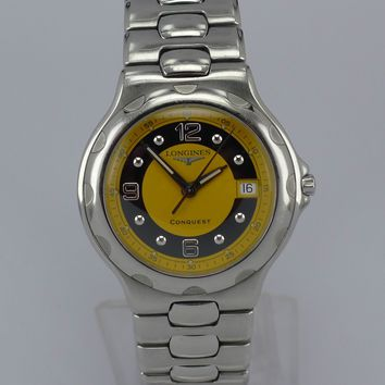 RaRe Longines Conquest YELLOW dial quartz date SS bracelet dressing watch LE 999
