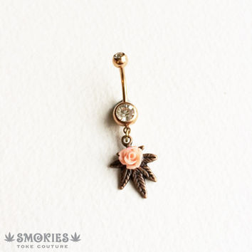 belly button ring, rose gold belly ring, CORAL,PINK, copper, rose, Marijuana, Belly Button Jewelry, body jewelry bellybutton ring