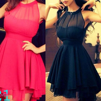 Short Black Dress, Black Bridesmaid Dress, Summer Short Chiffon Dress, Red Prom Dress Sexy, Halter Prom Homecoming Dress, Sexy Black Dress,