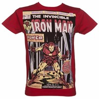 Men's Red Iron Man Comic Cover Marvel T-Shirt From For Love & Money : TruffleShuffle.com