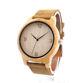 Bamboo Wooden Men Wristwatch with Brown Cowhide Leather Strap Quartz Movement Casual Watches With Box