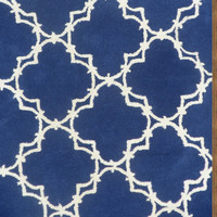 Trellis Blue Contemporary Style Handmade Woolen Area Rug Carpet