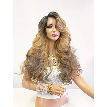 """Balayage Ombré Honey Brown Blonde SWISS Lace Front Wig 26"""" 0619"""