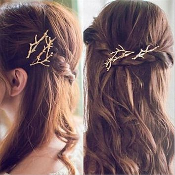 Runway Fashion Gold or Silver Branch Hair Clip Hairpin Wedding Barrette