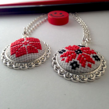 Ethnic Ukrainian cross stitch necklaces. Red and black. Shiny metal frame pendant. FREE SHIPPING WORLDWIDE! P8-9.