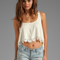 For Love & Lemons Loyal Crop Tank Top w/ Lace Trim