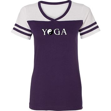 Yoga Clothing For You Yin Yang Yoga Text Powder Puff Yoga Tee Shirt