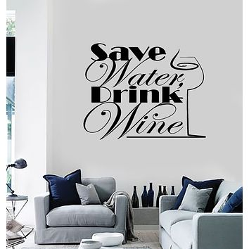 Vinyl Wall Decal Bar Restaurant Water Drink Glass Quote Home Decor Stickers Mural (g151)