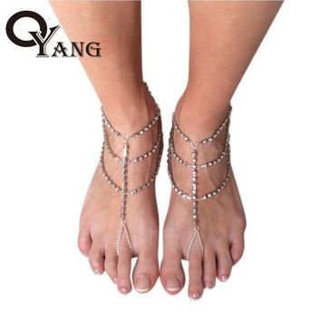 ac ICIKO2Q OYang 1PC Women Fashion Rhinestone Barefoot Sandals Foot Jewelry Crystal Multilayer Foot Anklet Chain ZK30