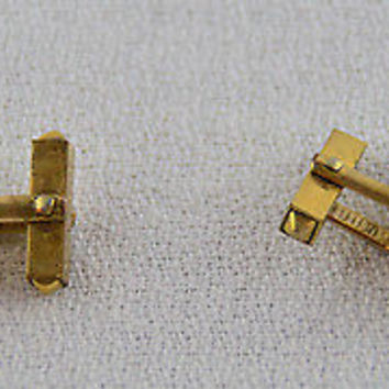 Swank Cufflinks 10k Gold with Blue Cabochon Rounded Square Center