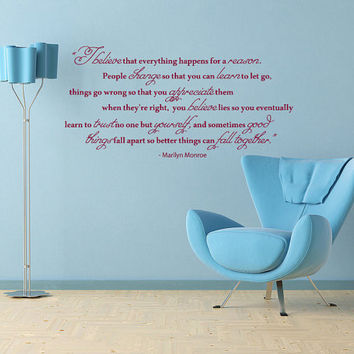 Housewares Marilyn Monroe Quote Wall Vinyl Decal Sticker I Believe Happens for Reason V255