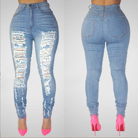 Sexy Ripped Pattern High Waist Slim Denim Pants