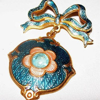 Dangle Brooch Pin Teal Blue & Coral Enamel Painted Gold Metal Ribbon Design 2 in Vintage