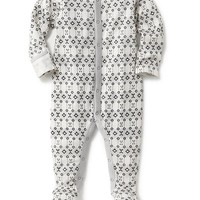Old Navy Holiday Print Footed Thermal One Piece For Baby
