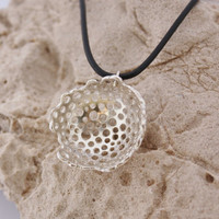 "Handmade sterling silver pendant ""esponja marina"" - organic nature necklace - jewelry design"