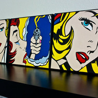 Hand Painted Tribute to Roy Lichtenstein POP Art (3) 8x10 acrylic on canvas