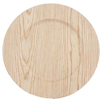 "13"" Faux Wood Charger Plate"