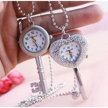 Hot Keychain Pearl Girls Necklace  Silver Chain Key Holder Pocket Watch Crystal Shells rabbit mouse Carving Case Cute Pendant