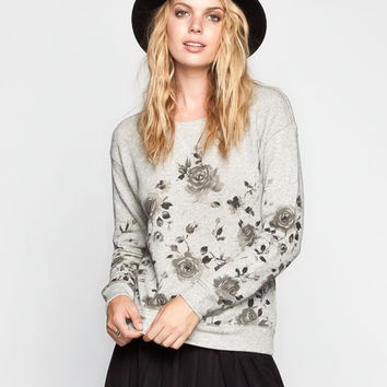 Chloe K Washed Floral Print Womens Sweatshirt Charcoal  In Sizes