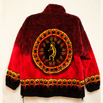 Bear Ridge XL Women's Fleece Tribal Sweater Jacket, Plus Sized Plush Fleece Zipper Sweater