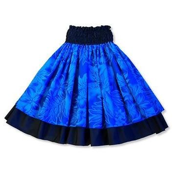 plumeria shadow blue hawaiian double pau hula skirt