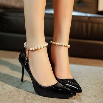 Women Pumps 2017 Spring Fashion Elegant Women's Fine Shoes High-heel Pointed Pearl Dia