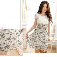 Summer Mini Dress Women's Floral Tunic Short Sleeve Chiffon Dress Elastic Waist