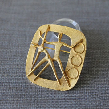 Herbert Zeitner Modernist Brooch, 1975 Berlin Gymnaestrada, BH Mayer Pforzheim Germany, MCM Jewelry