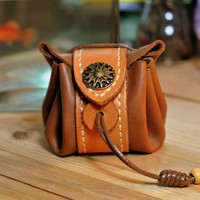 Handmade Leather Drawstring coin case wallet /bag