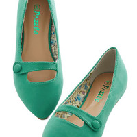 ModCloth Minimal Morning Amour Flat in Green
