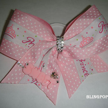 pink princess sweet Cheer Bow with Swarovski Diamond Crystal