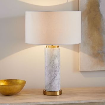 Pillar Table Lamp + USB - Marble