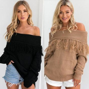 CREYONX5H Autumn and winter fashion one word shoulder color pure tassel loose sweater long sleeves women