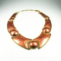 Vintage Necklace Mexican Copper Chunky Statement Jewelry