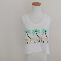 Vintage Chi Omega Paradise Crop Tank Top Size SMALL