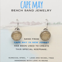Cape May Sand Earrings Beach Sand Jewelry One of a Kind OOAK New Jersey Beach Vacation Memory Special Keepsake Gifts for Her
