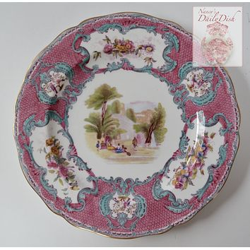 Stunning Copeland Spode Vintage Transferware Plate Aqua Turquoise & Pink with Hand Painted Flowers and Scene