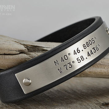 Mens Leather Bracelet - Personalized Bracelet - Mens GPS Latitude Longitude Coordinates Leather Bracelet - Hand Crafted in USA