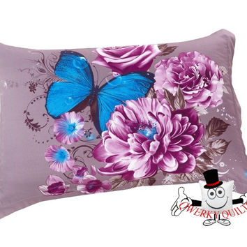 3D Violet Rose Blue Butterfly Pillowcase