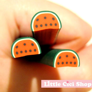 1pc Large Waterlemon Half Slice Fruit Polymer Clay Cane / Fimo Cane Stick For 3D Nail Art Miniature Sweet Food / Dessert / Cake Deco B016